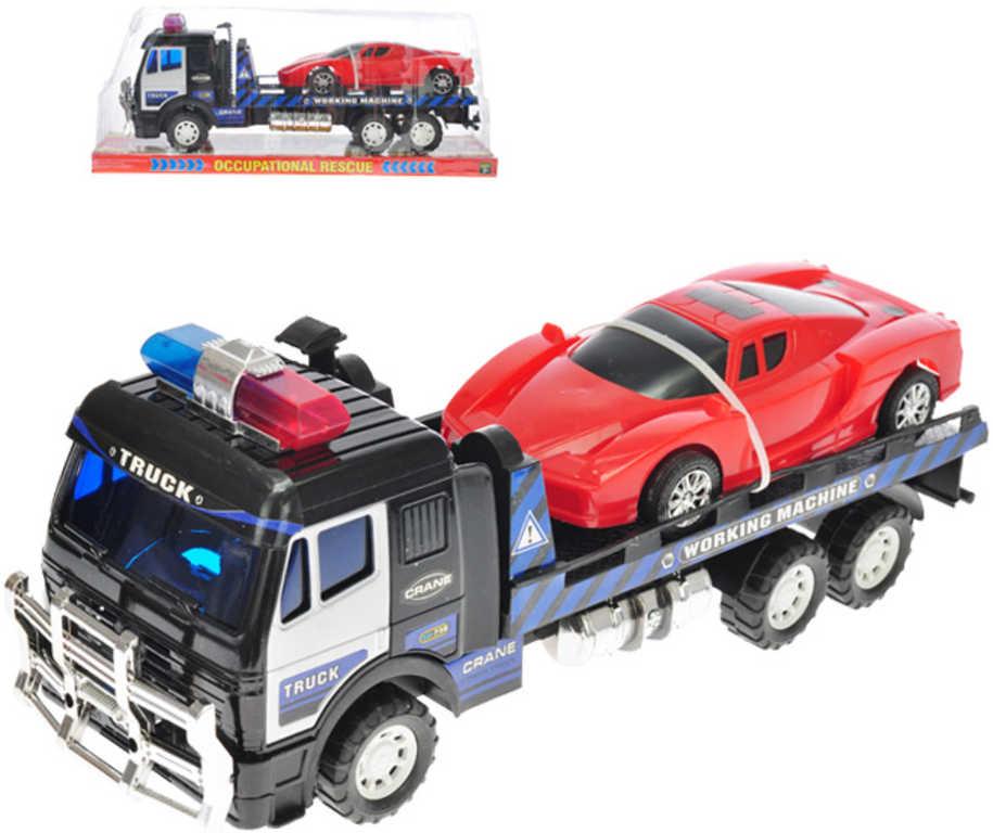 Auto policejní kamion přepravní 39cm set s autem na setrvačník 21cm plast