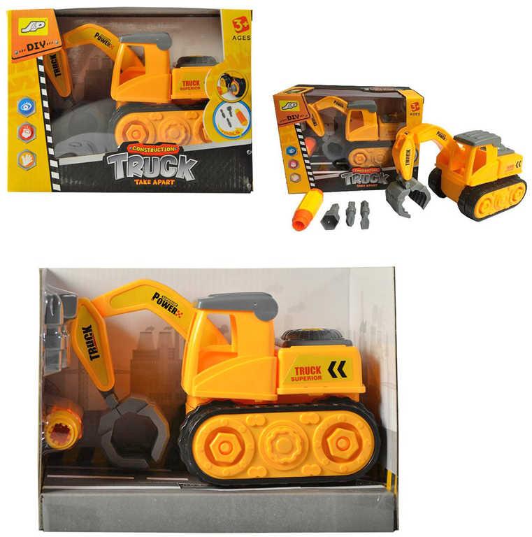 Bagr auto stavební 16cm šroubovací set s nástroji k sestavení v krabici plast