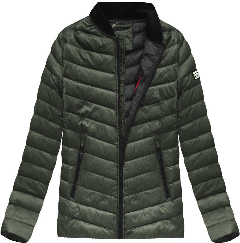 Khaki pánská bunda s přírodní vycpávkou (5021) - Khaki/M