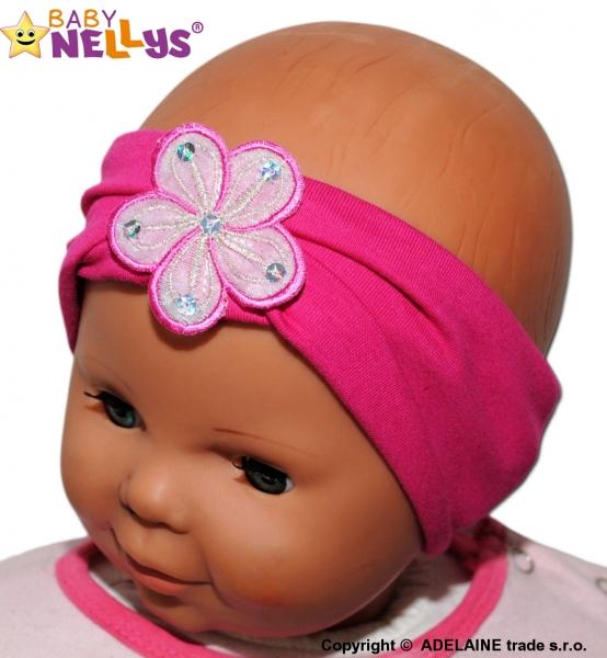 Čelenka Baby Nellys ® s květinkou - malinová - 38/40 čepičky obvod/48/50 čepičky obvod