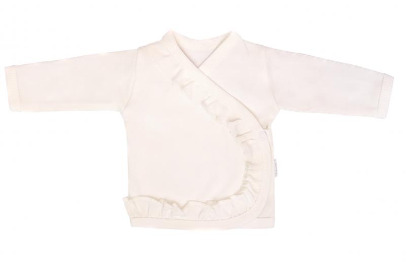 Mamatti Novozenecká bavlněná košilka, kabátek s volánkem Gepardík - bílá - 50 (0-1m)