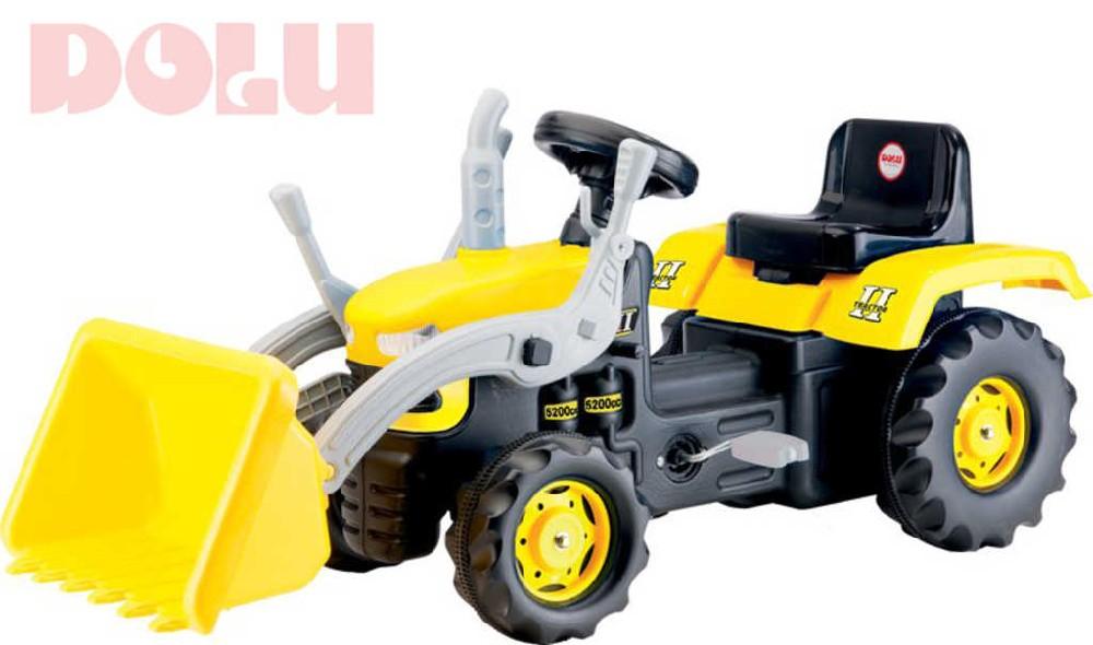 DOLU Traktor dětský šlapací s rypadlem žlutý plast