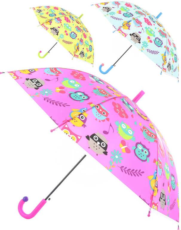 Deštník dětský barevný se sovičkami 83x66cm automatický 6 druhů