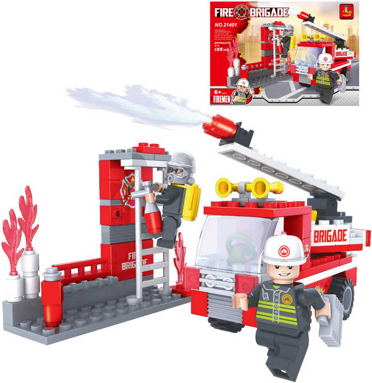 AUSINI Stavebnice HASIČI auto hasičské sada 133 dílků + 2 figurky plast