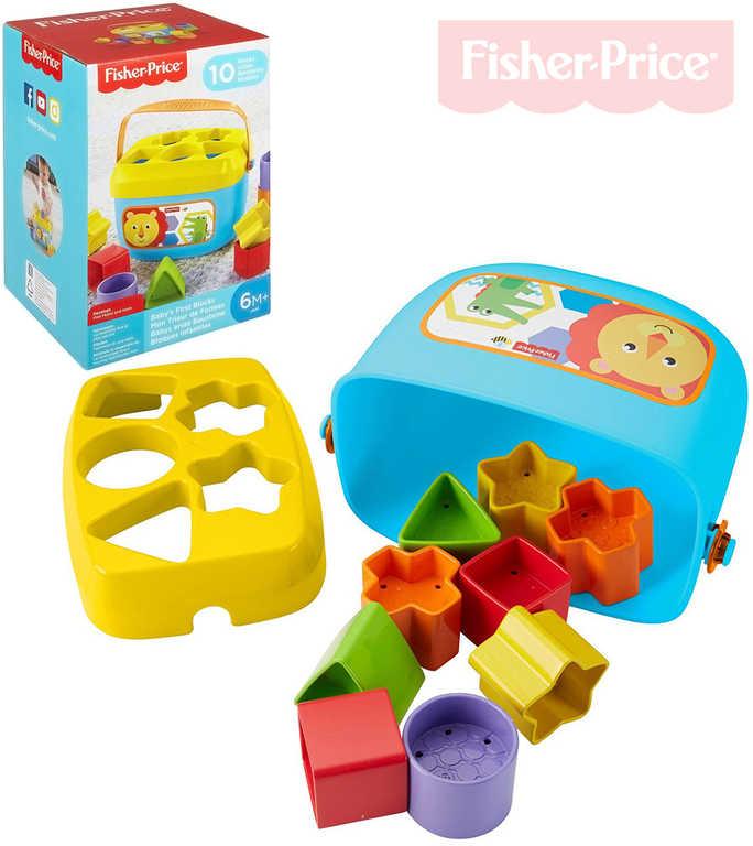 FISHER PRICE Baby moje první vkládačka set kyblík + 10 kostek plast pro miminko