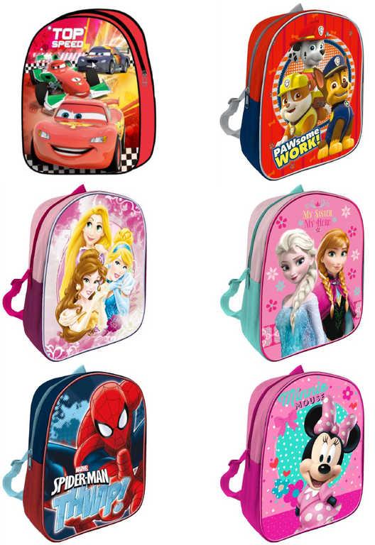 Batoh dětský Disney 1 komora na zip s popruhy na záda různé druhy