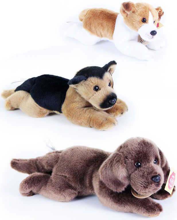 PLYŠ Pes ležící 18 cm na baterie - 3 druhy