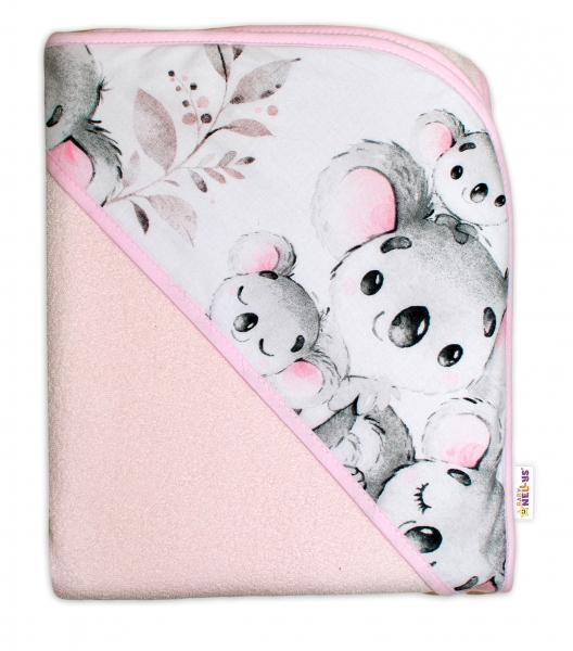 detska-termoosuska-s-kapuci-baby-nellys-medvidek-koala-100-x-100-cm-ruzova