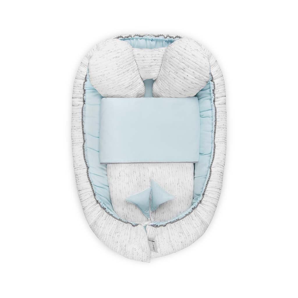 Luxusní hnízdečko s peřinkou pro miminko Belisima Enzo - modrá