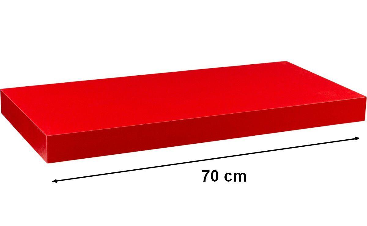 Nástěnná police STILISTA VOLATO - matná červená 70 cm