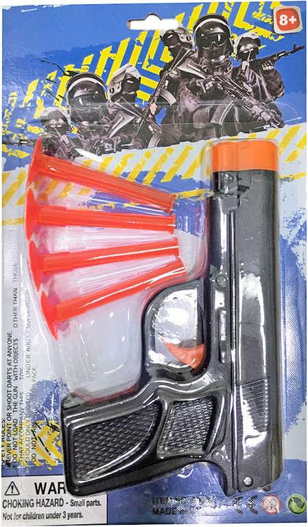 Pistole dětská plastová set se soft šipkami na kartě