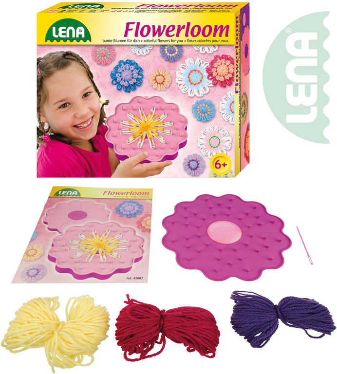 LENA Stav pletací dětský plastový Květina set s vlnou a doplňky v krabici 42007