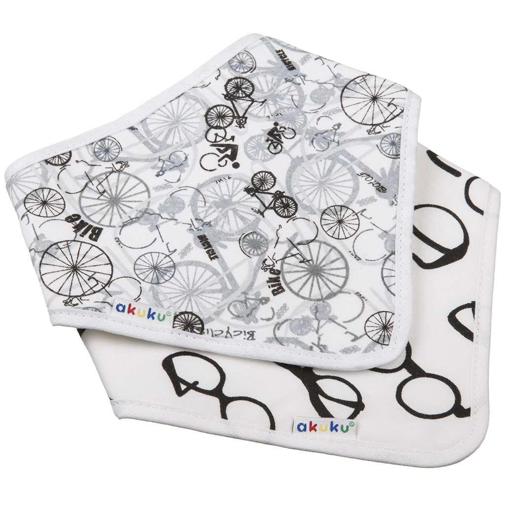 Dětský bryndáček-šátek Akuku 2 ks kolo-brýle - bílá