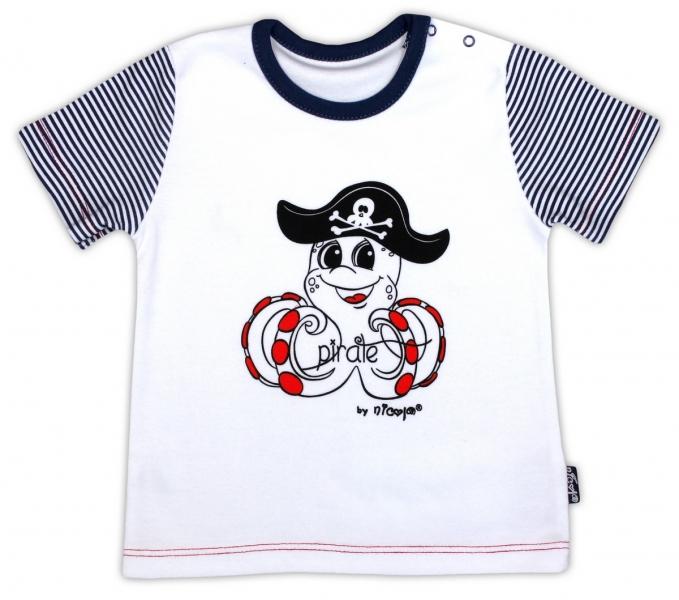 Bavlněné tričko NICOL PIRÁTI - krátký rukáv - bílá - 80 (9-12m)