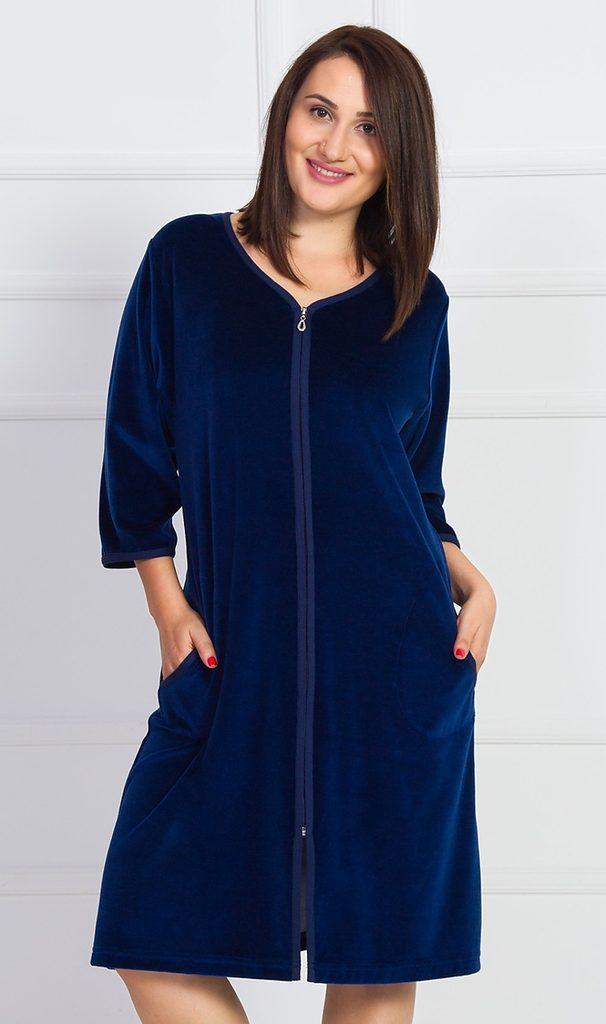 Dámské domácí šaty s tříčtvrtečním rukávem Gabriela - tmavě modrá