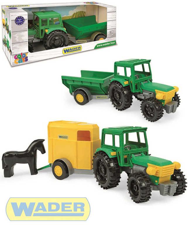 WADER Traktor 38cm s vlečkou / s přepravníkem pro koně 2 druhy plast