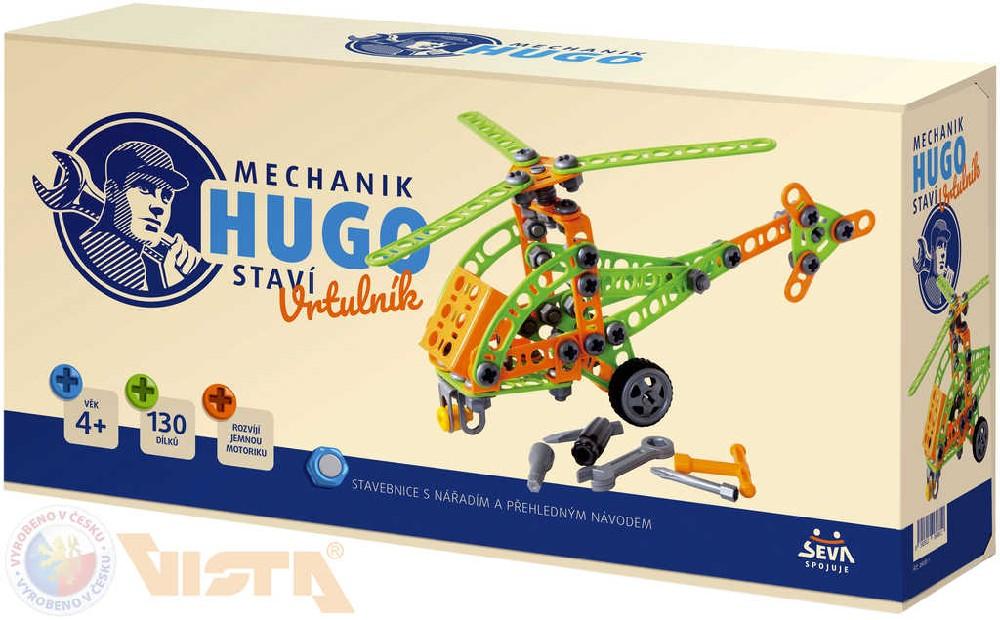 VISTA SEVA Mechanik Hugo staví Vrtulník STAVEBNICE 130 dílků set s nářadím v krabici