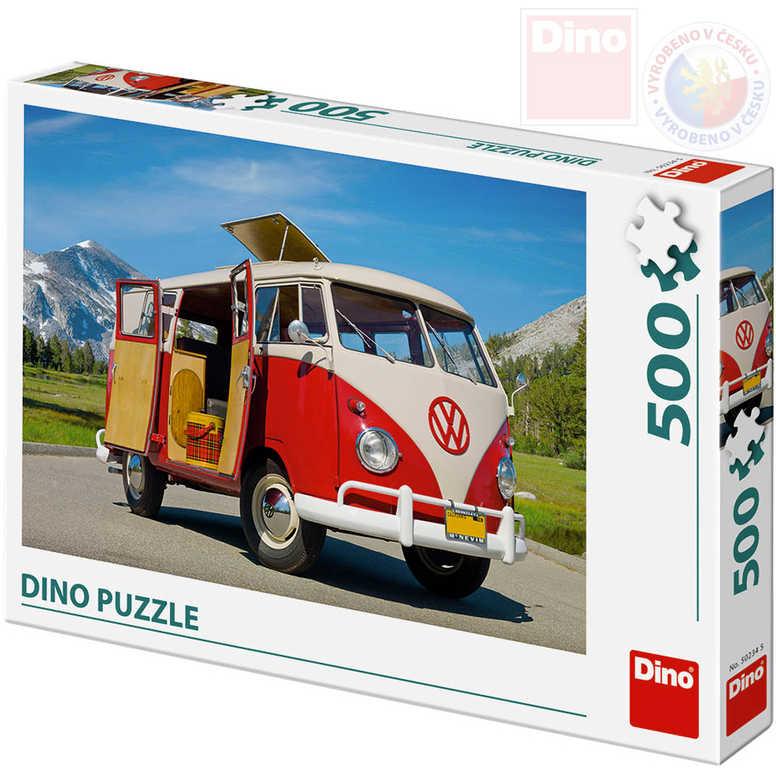 DINO Puzzle 500 dílků Auto Volkswagen Camper Van 47x33cm skládačka v krabici