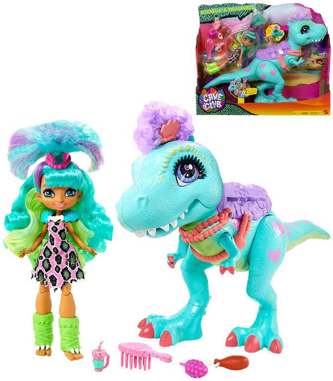 MATTEL Cave Club Set panenka Rochelle a dinosaurus T-Rex s doplňky