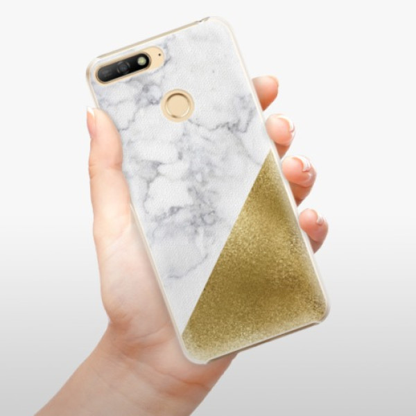Plastové pouzdro iSaprio - Gold and WH Marble - Huawei Y6 Prime 2018
