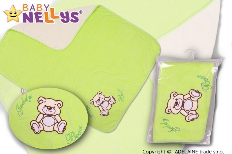 Baby Nellys Deka/dečka froté/velur - Medvídek Teddy Bear - zelená