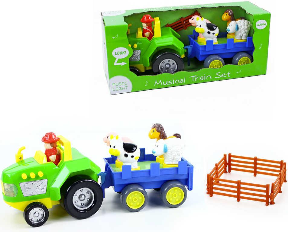 Set hudební traktor + vlečka se zvířátky na baterie