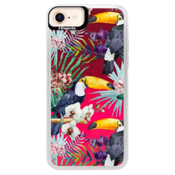 Neonové pouzdro Pink iSaprio - Tucan Pattern 01 - iPhone 8