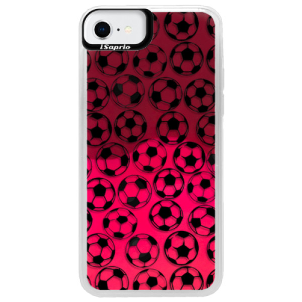 Neonové pouzdro Pink iSaprio - Football pattern - black - iPhone SE 2020