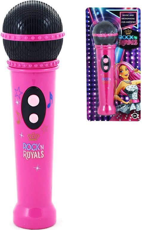 Mikrofon dětský růžový 20cm na baterie s melodií na kartě Zvuk plast