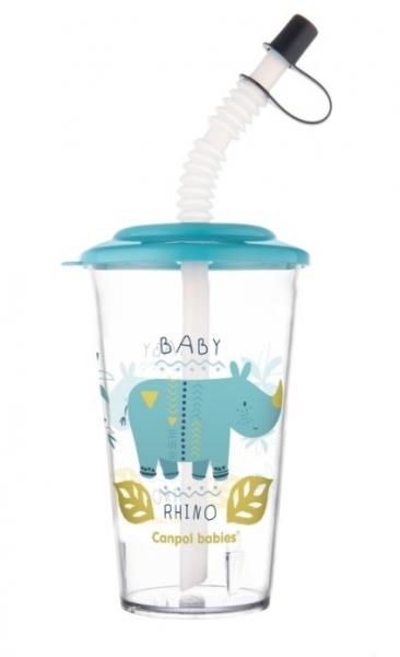 Canpol Babies Pohárek s uzavíratelnou slámkou, Rhino, modrá, 320 ml