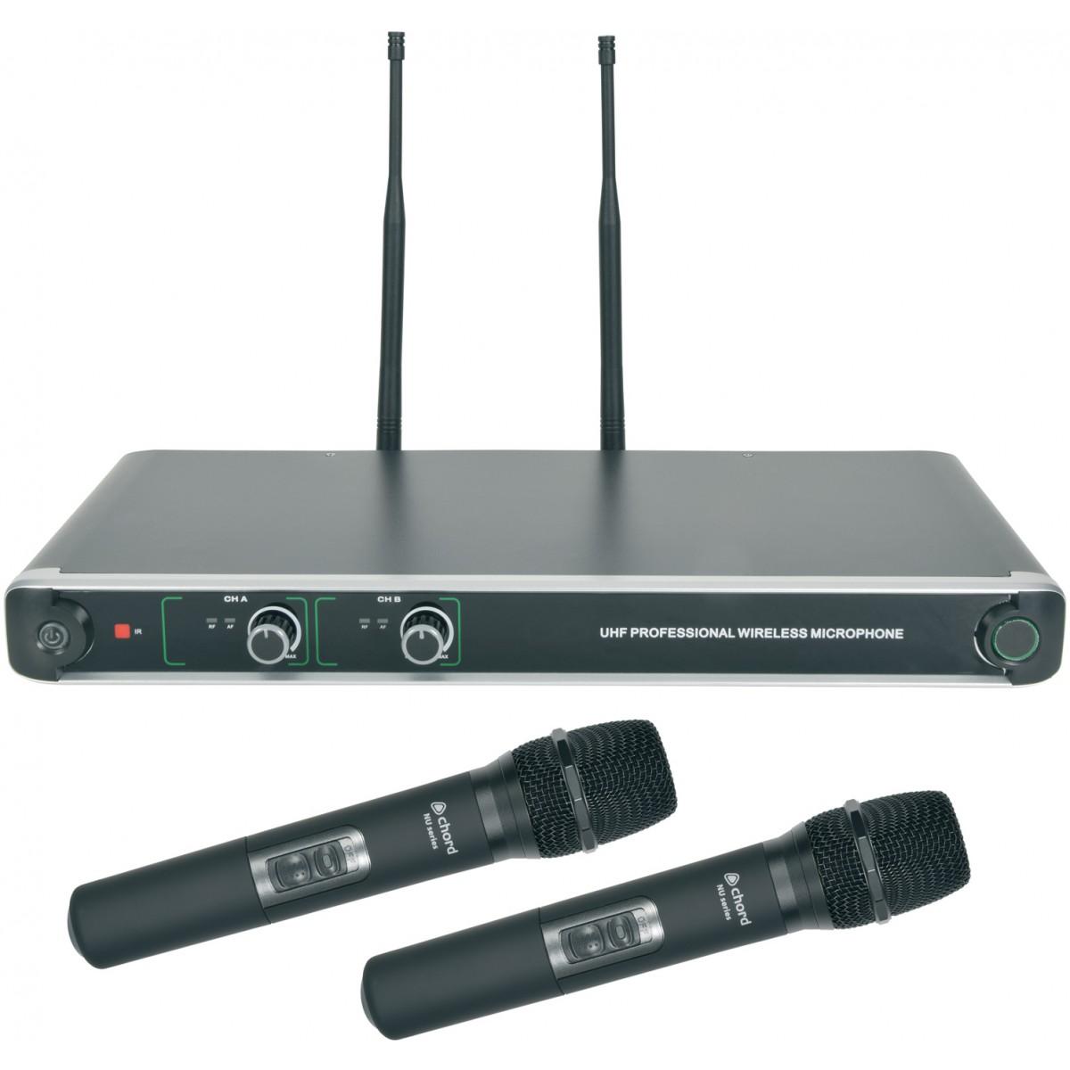 Chord NU20-H, duální UHF ruční bezdrátový mikrofonní systém, 863.8MHz + 864.8 MHz