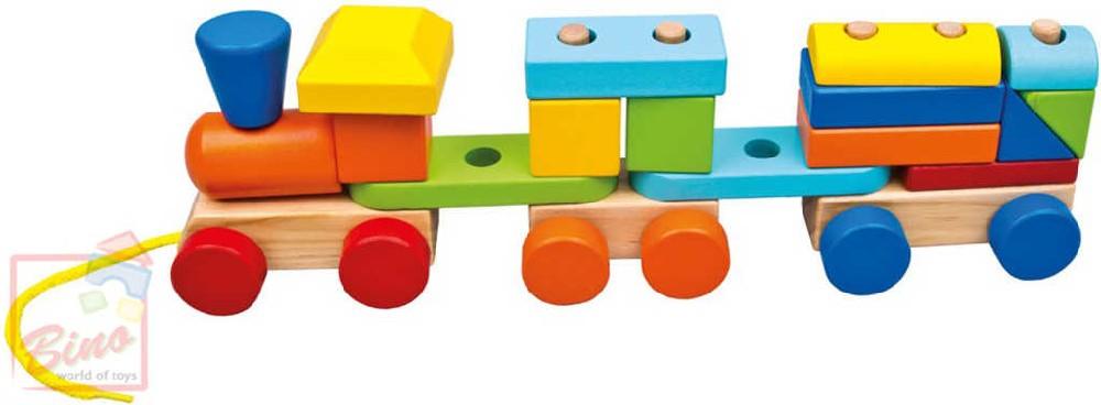 BINO DŘEVO Baby barevný vláček navlékací tahací + 2 vagónky pro miminko