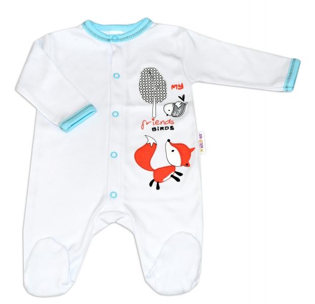 Baby Nellys Bavlněný kojenecký overal Fox - bílý, vel.