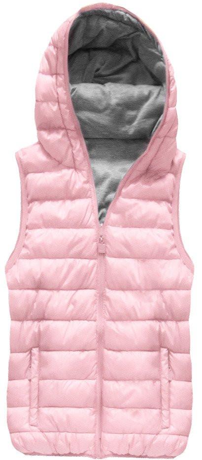 Oboustranná vesta v pudrově růžové barvě s kapucí (B1002)