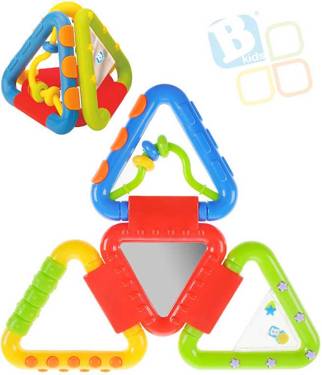 B-KIDS Baby chrastítko a kousátko trojúhelníky se zrcátkem pro miminko