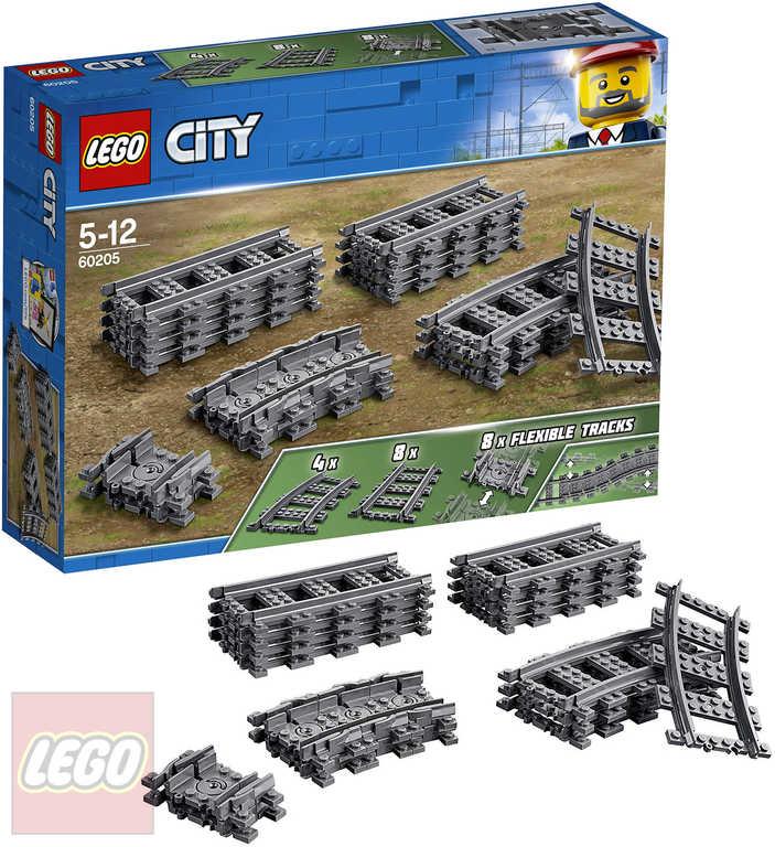 LEGO CITY Koleje rovné a zahnuté doplněk k vláčkodráze 60205