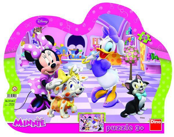 Puzzle deskové Minnie a mazlíčci kontura 35x28cm 25 dílků