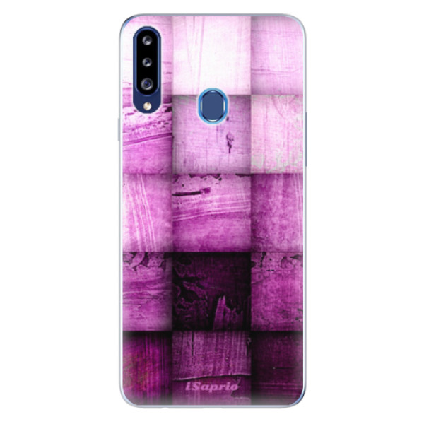 Odolné silikonové pouzdro iSaprio - Purple Squares - Samsung Galaxy A20s