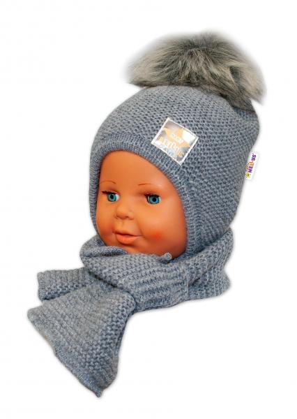 BABY NELLYS Zimní čepička s šálou - chlupáčková bambulka - tm. šedá/šedá - 12/24měsíců