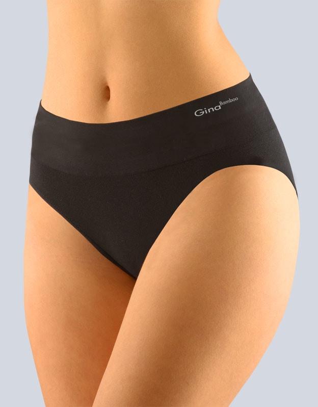 GINA dámské kalhotky klasické se širokým bokem, širší bok, bezešvé, jednobarevné Bamboo PureLine 00035P - černá