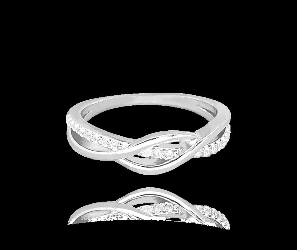 Stříbrný propletený prsten MINET s bílými zirkony vel. 61