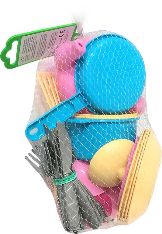 BINO Dětské plastové barevné nádobí s příbory set 30ks v síťce