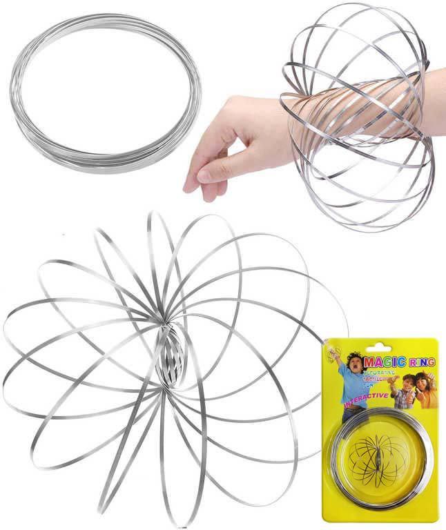 Pružina spirála magická antistresová MAGIC RING magické kruhy kov FLOW RINGS