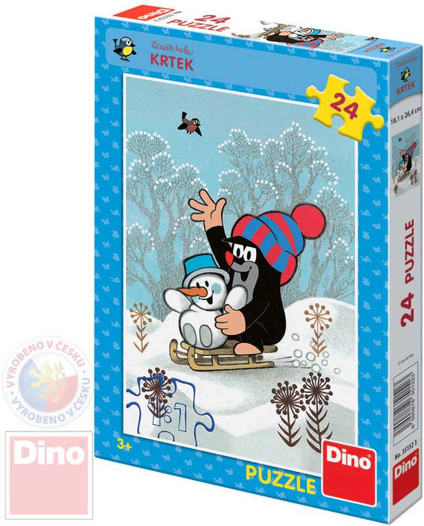 DINO Puzzle Krtek a sněhulák (Krteček) 18x36cm set 24 dílků v krabici
