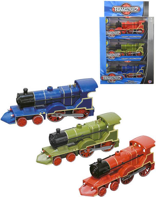 Teamsterz parní lokomotiva kovová na baterie Světlo Zvuk různé druhy