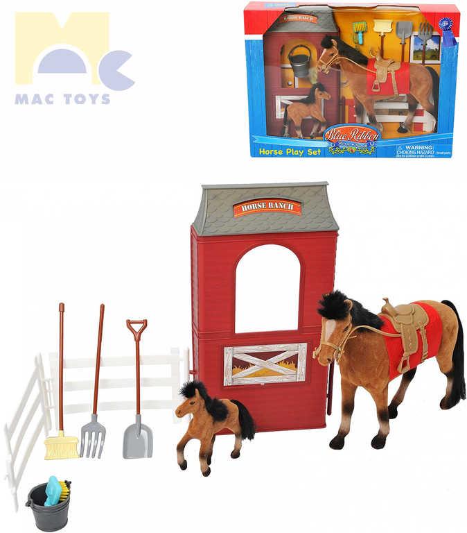 MAC TOYS Stáj pro koně set koník flískový 2ks s doplňky plast v krabici