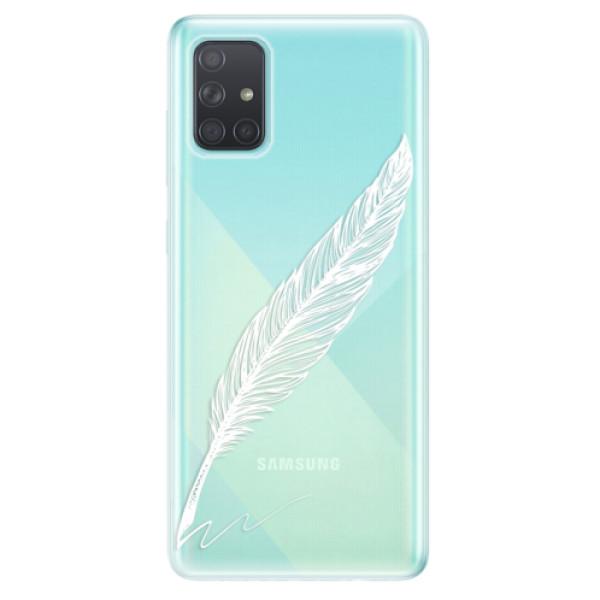 Odolné silikonové pouzdro iSaprio - Writing By Feather - white - Samsung Galaxy A71
