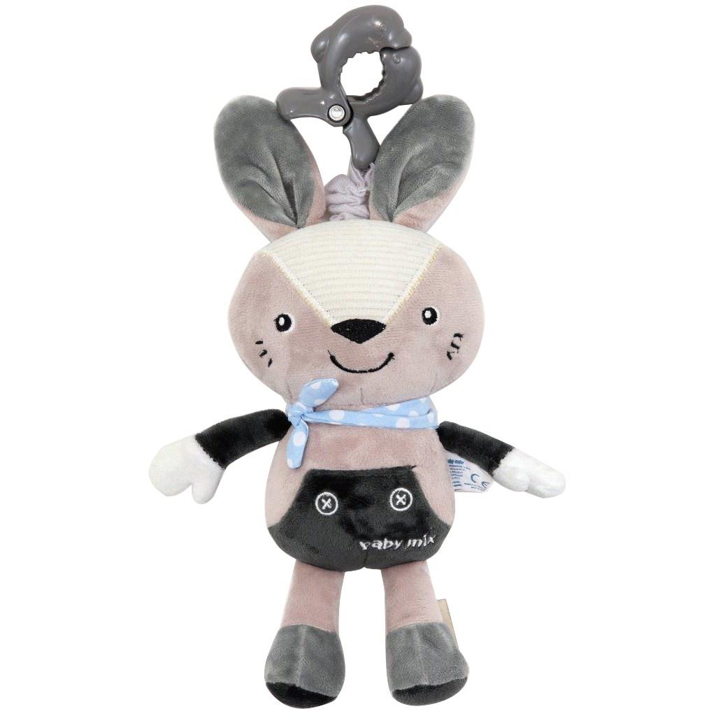 Dětská plyšová hračka s hracím strojkem Baby Mix - Králiček šedý - šedá