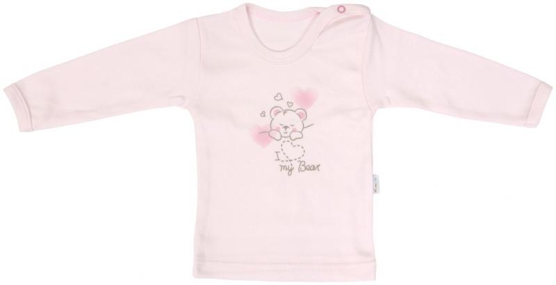 Bavlněné tričko Mamatti Roztomilý Medvídek - dlouhý rukáv - 74 (6-9m)