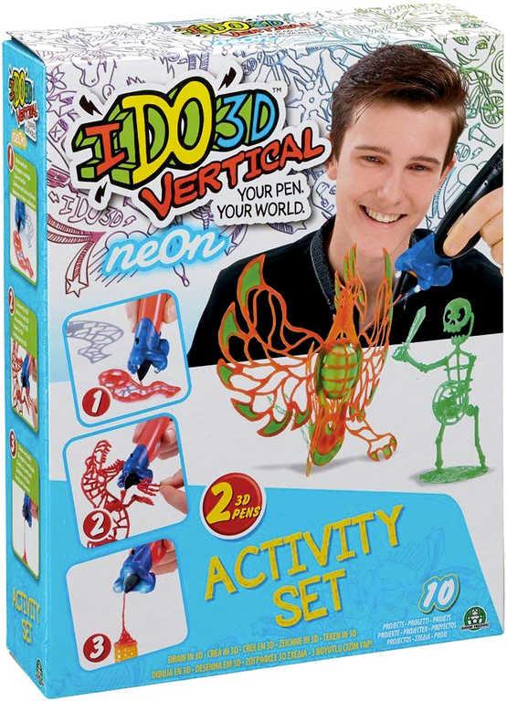 IDO3D Vertikal magické pero set 2ks neon oranžové + zelené 3D kreslení tuhne pod UV světle